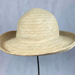 Womens Tan Straw Hat Double Layered